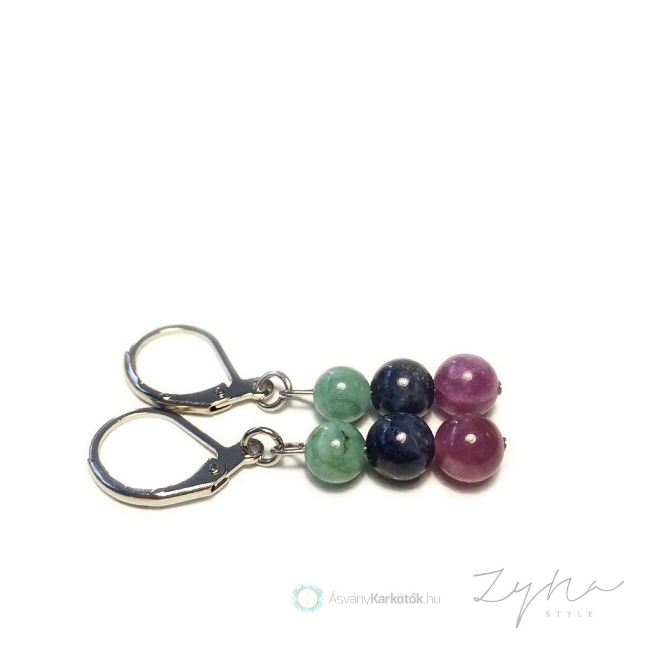 534a7b949 Smaragd, zafír, rubin ásvány fülbevaló